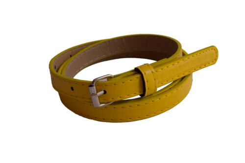 Ladies Womens Skinny Thin Faux Leather Waist Belt 15 Colors
