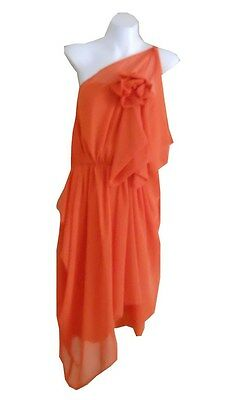 VINTAGE HARAH DESIGNS CHIFFON KNEE LENGTH ONE SHOULDER DRESS 6-8-10-12-14-16-18