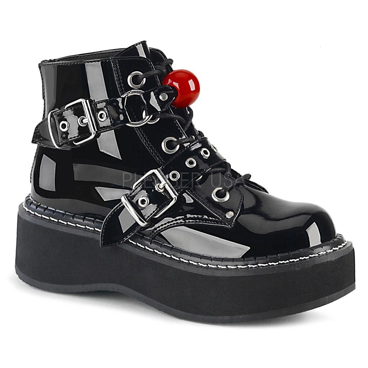 Demonia 2 2 2  Plataforma botas al Tobillo Bondage Gag Emily Negro 6 7 8 9 10 11 12  venta con descuento
