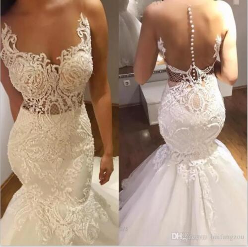 New Illusion Mermaid Wedding Dresses Sheer Neck Applique Lace Bridal Gown Custom