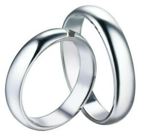 Fedi-Fedine-Fidanzamento-semplici-Anelli-Argento-925-Rodiato-Uomo-Donna