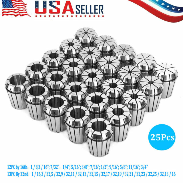 """NEW ER32 COLLET 25PCS SET 1//16/""""-3//4/"""" by 16th and 32nd INDUSTRIAL GRADE ACCURATE"""
