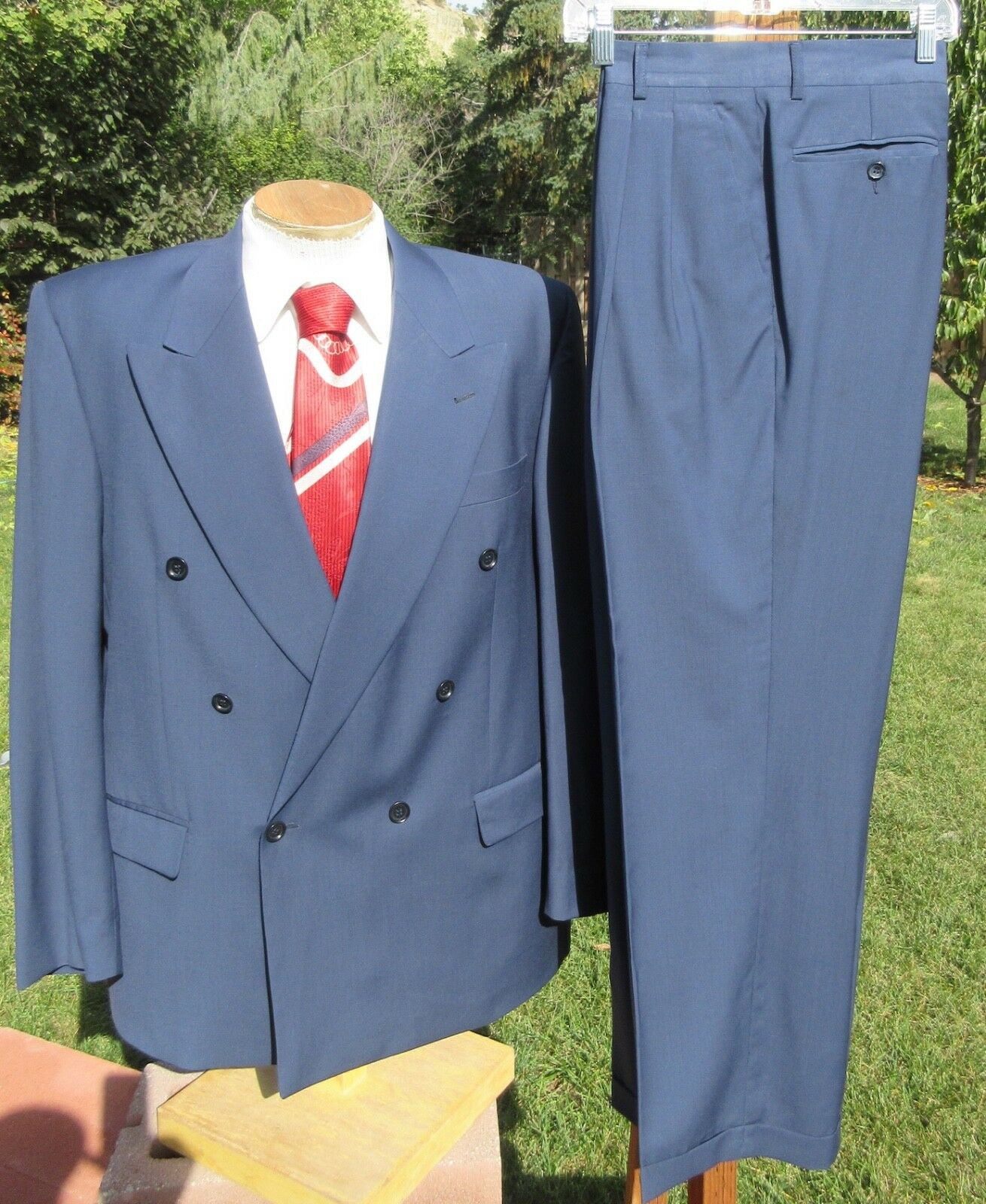 Elegant Double Breasted SUPER 100 Suit 44R 35x29 - Blau Italian Wool by CACHAREL