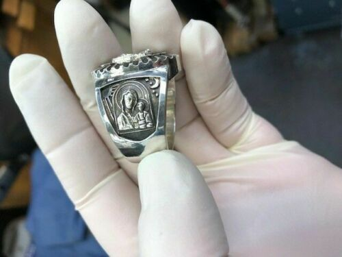 Russian Orthodox Cross Crucifix Design Ring Sterling Silver 925.
