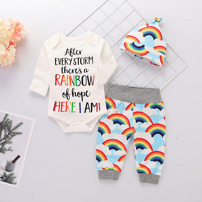 4pcs Baby Newborn Boy Girl Rainbow Clothes Tops Romper Long Pants Hat Outfits