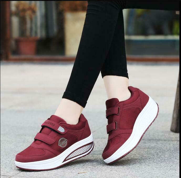 Womens Shape Ups Lace up Sneaker Walking Sports shoes Running Suede shoes New