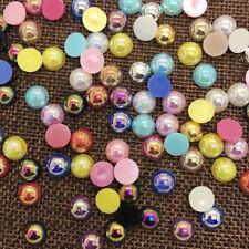 NEW 2-14mm AB Half Round Bead Flat Back Pearl Scrapbooking Embellishment #04