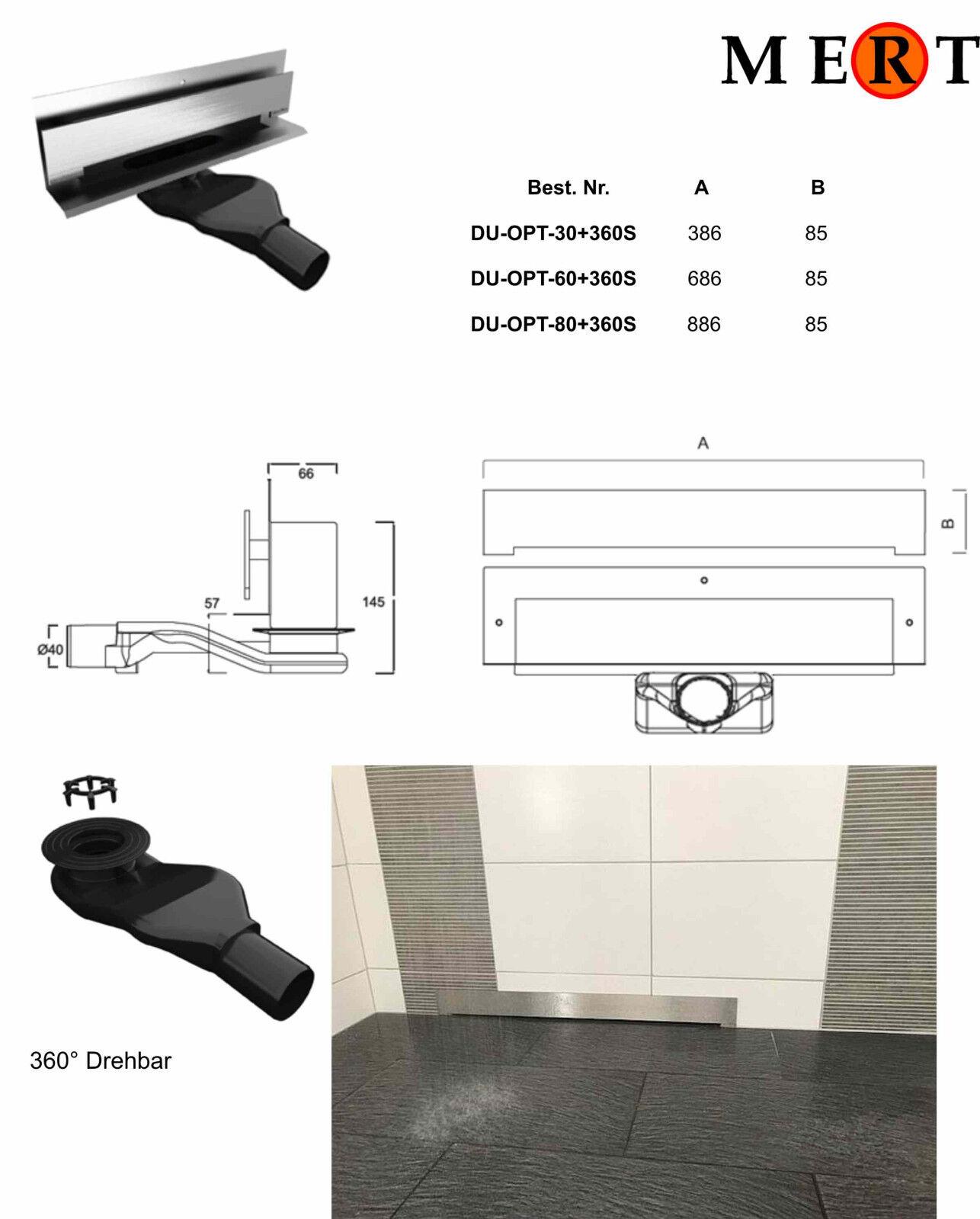 Wand-Duschablauf massives Edelstahl gebürstet Edelstahlabdeckung 4mm 304