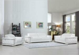 Details About Contemporary White Genuine Italian Leather Sofa Set 3 Pcs  Global United 692
