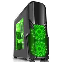CiT G Force Gaming Computer PC Window Case No PSU Green 3 x 120mm Fan USB 3.0