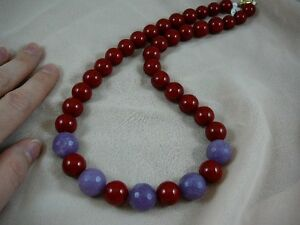 (v707) Red + Purple Red Hat Society lady glass beaded 22 long Necklace