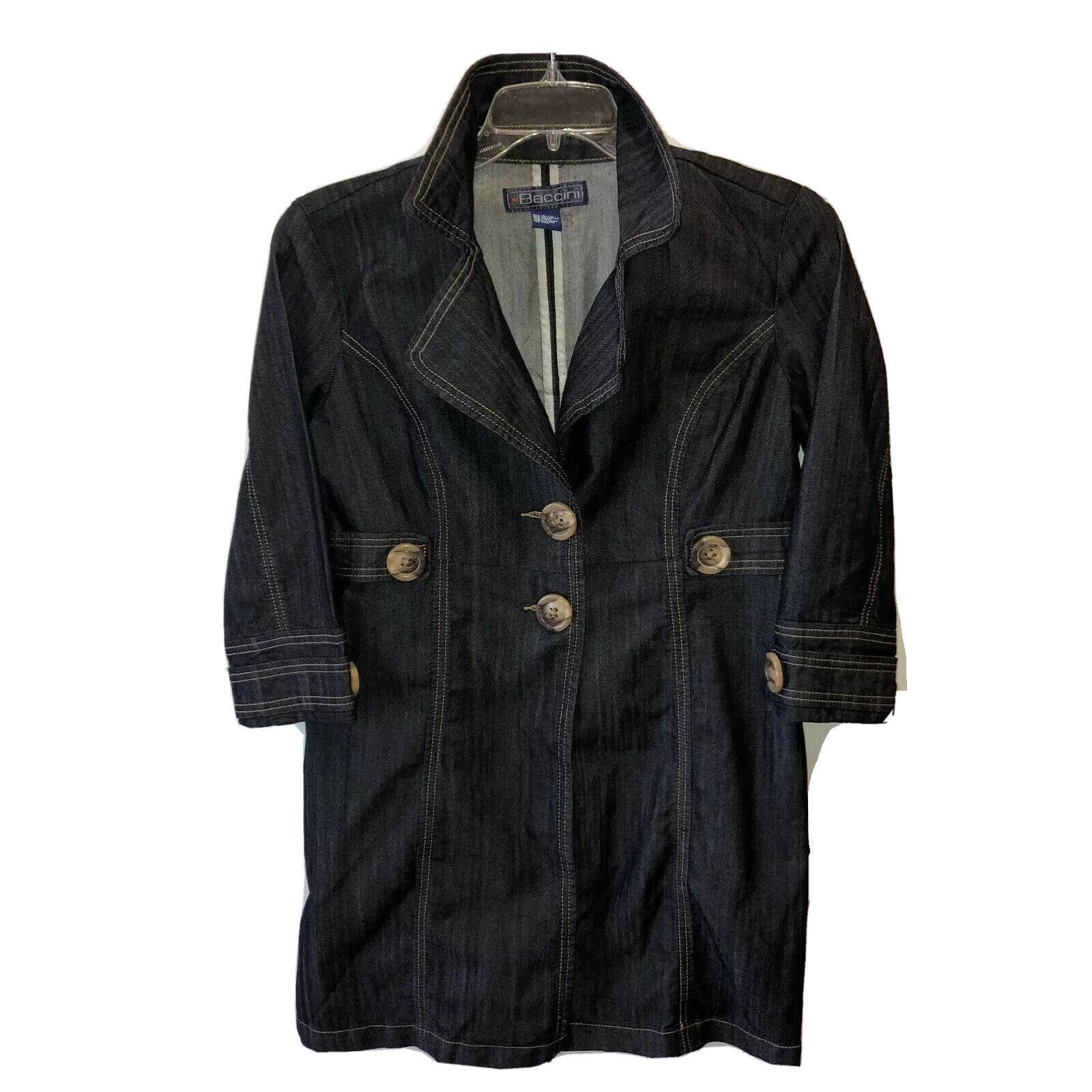 Baccini Womens Medium Black 3/4 Sleeve Button Front Denim Jean Jacket Coat Top M