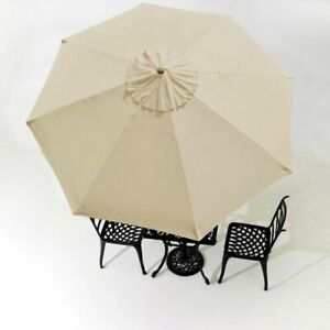10-039-Umbrella-Cover-Top-8-Rib-Deck-Outdoor-Canopy-Garden-Beach-Patio-Pool-Beige