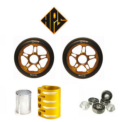 BLACK SET STUNT SCOOTER METAL CORE WHEELS 100mm BEARING PEGS QUAD CLAMP GRIPS