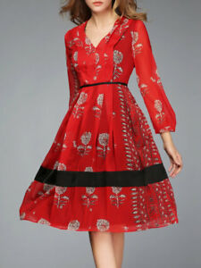 NWT-Stylewe-A-line-Red-Long-Sleeve-V-Neck-Polyester-Vintage-Midi-Dress-S-M-L