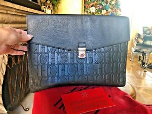 Leather Herrera Grained Clutch Monogram Carolina Large Black gYbf76y
