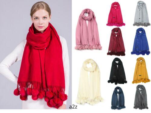 New Women Winter Big Scarf Stole Cashmere Pom pom Plain Shawl Wraps Warm Scarves