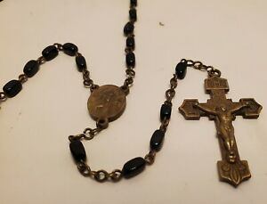 Antique-Rosary-Black-Made-in-Czechoslov-Metal-Old-Vintage