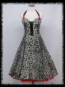 dress190 grey leopard print chiffon 50s halter corset