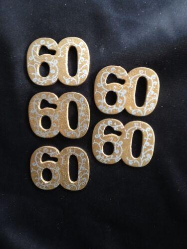 5 X LEGNO numero 60 d/'oro matrimonio streudeko SCRAPBOOKING invito Giubileo numero