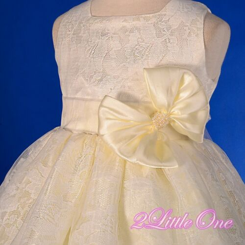 Ivory Lace Overlay Flower Girl Dress Wedding Pageant Party Size 9 mon 4T FG276