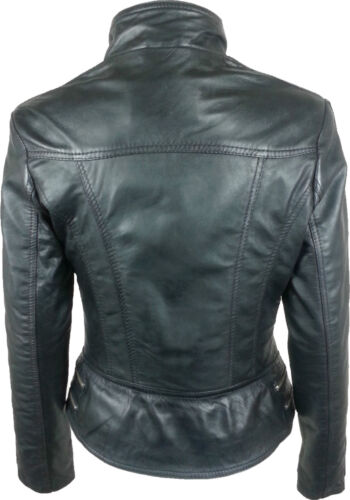 gd Womens Jacket Unicorn Fashion Short Black Waxed Fitted Leather Real WUSPTnRT