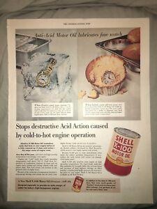1954-10x13-Vintage-Shell-Motor-Oil-Anti-Acid-Watch-Advertising-Orig-Mag-Print-AD