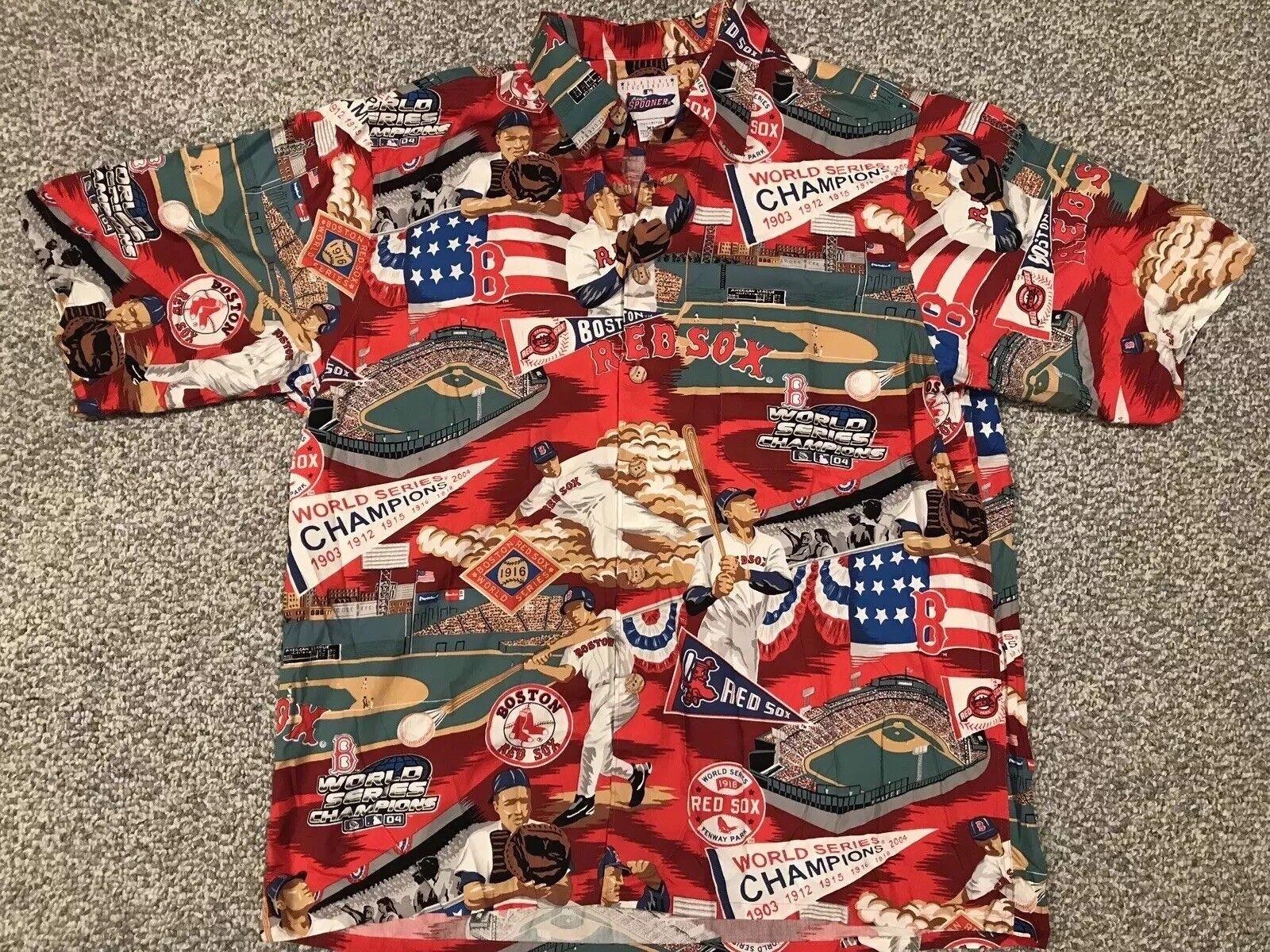 NWOT Reyn Spooner Boston Red Sox 2004 World Series Champions Men's XL Camp Shirt