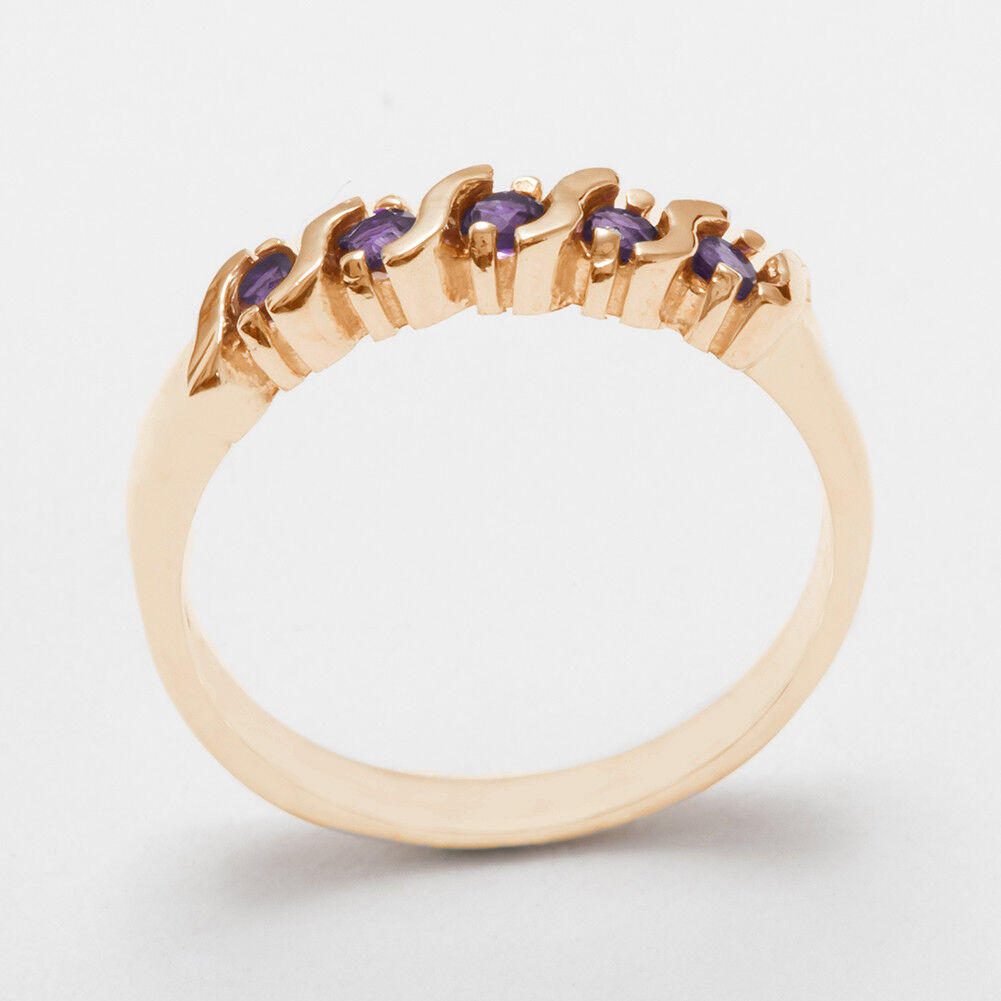 Solid 9ct pink gold Natural Amethyst Womens Eternity Ring - Sizes J to Z