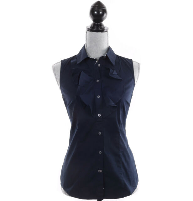 Tommy Hilfiger Women Sleeveless Solid Navy Button Down Shirt - Free $0 Shipping