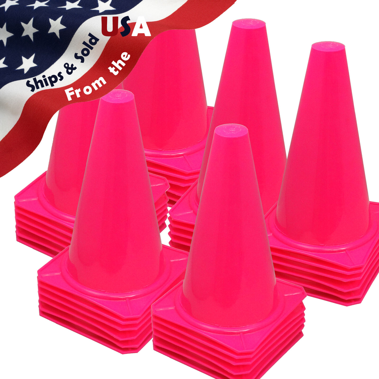 9  INCH PINK CONES (SET OF 36) SPORTS AGILITY TRAFFIC FIELD ROAD SOCCER  USA