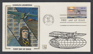 US-Pl-1710-N6-FDC-1977-13c-Charles-Lindbergh-Z-Silk-FIRST-CACHET-by-John-Zazo