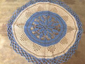 A51 Vtg Round Doily Centerpiece Blue Tan Beige Crochet Table Topper 40s Decor
