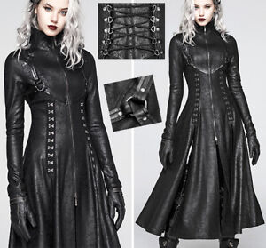 Manteau-cuir-long-fendu-gothique-cyber-punk-Matrix-agrafe-corset-cloute-PunkRave