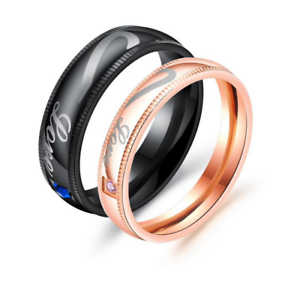 Acier Inoxydable Promesse de Mariage Noir /& Or Fusionné Motif Coeur Amour Couple Anneaux