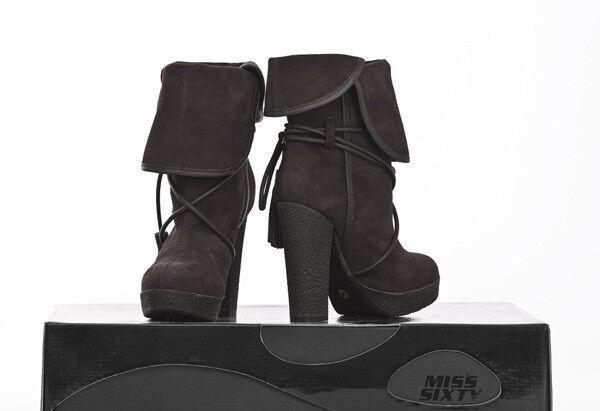 Miss Sixty Damen Leder Wildleder High Heels Stiefeletten Schuhe Wild Leder Damen Daisy NEU a42183
