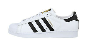 new style 4ded2 110e5 Image is loading ADIDAS-Superstar-White-Black-Leather-Lace-Up-Fashion-