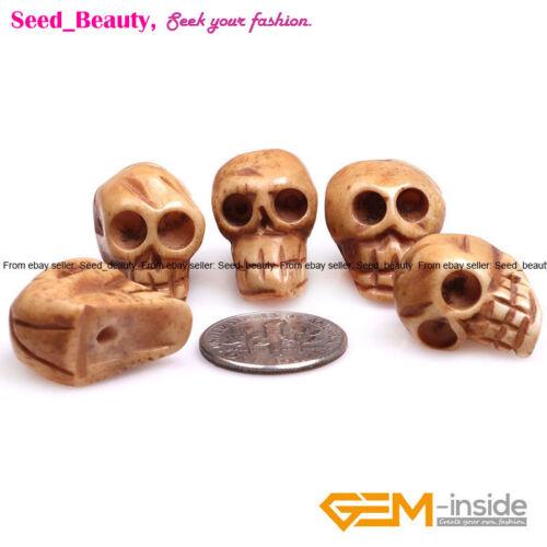 Carved Bone Skull Beads for Jewelry Making /& Halloween Decoration Sphere in Bulk