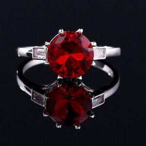 Charm 925 Silver Round Ruby Gem Birthstone Simple Design