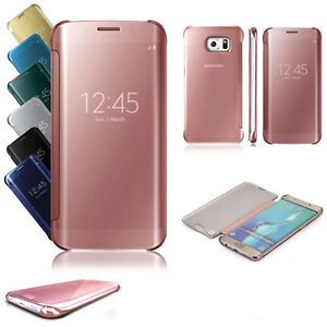 luxury mirror flip clear smart case cover for samsung galaxy s7 edge s8 plus s9 ebay. Black Bedroom Furniture Sets. Home Design Ideas