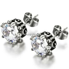Unisex Hypoallergenic Hearts&Arrows Stud Earrings w/ Clear Cubic Zirconia 1 Pair
