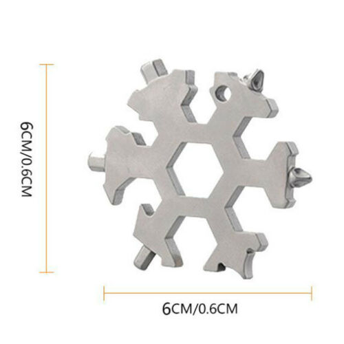 18 In 1 Stainless Tool MultiTool Portable Snowflake Shape Key-Chain Screwdriver
