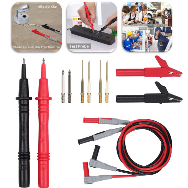 1000V 10A Automotive Multimeter Test Lead Probes Kit Alligator Crocodile Clips