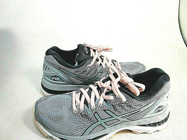 ASICS Women's Gel-Nimbus 20 Running Shoe Mid Grey/Seashell Pink Size 5 M