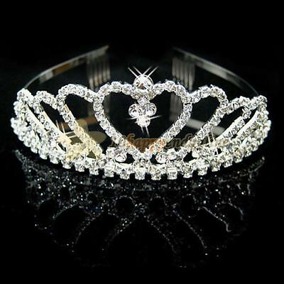 Queen Wedding Bridal Princess Crystal Tiara Crown Comb Headband Hair Accessory