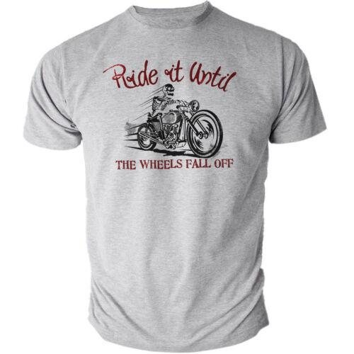 RIDE fino alla.. MOTO CLASSICA VINTAGE BIKER effetto anticato Grigio T-Shirt