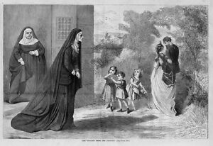 CONVENT RELIGIOUS OUTCAST FROM THE CONVENT NUN SISTERS CHILDREN ENGRAVING
