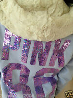 Victoria's Secret Pink Bling Faux Fur Signature Zip Hoodie Size M Sold Out