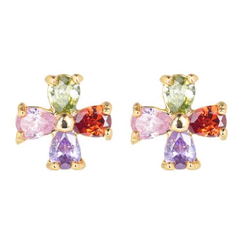 Nouveau Femmes plaqué or coloré Fleur Multicolore Zircone cubique zircone cubique Boucles d/'oreilles Clou