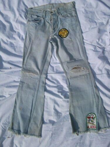 Vtg 70's Distressed Lt. Blue Denim Jeans Levi's O